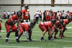 Blake practicing at Left Guard. Courtesy atlantafalcons.com